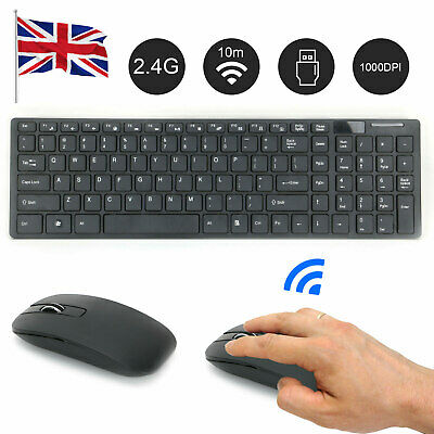 Slim 2.4GHz Cordless Wireless Keyboard And  Mouse Set For PC MAC Laptop Tablet • 11.09£