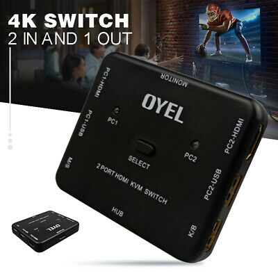 2 Port USB HDMI KVM 4K Switcher Switch Box 2 In1 Out For Mouse Keyboard Monitor • 14.99£