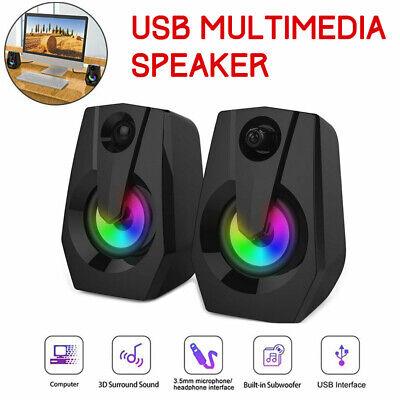 LED Speakers PC Computer Desktop Surround Sound System Gaming Bass USB Stereo • 20.49£