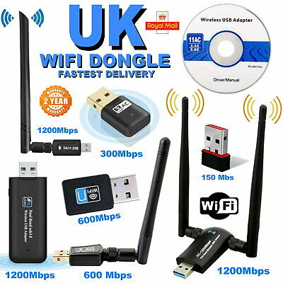 USB Wifi Adapter Wireless Dongle Adaptor PC Dongle 1200MBPS 600MBPS 300MBPS UK  • 7.99£