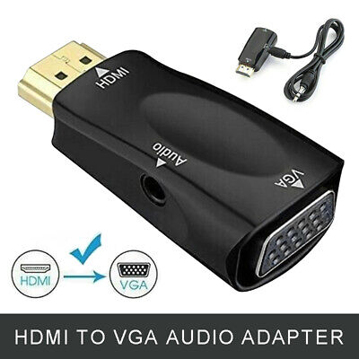 HDMI To VGA Adapter Converter Male To Female Audio For PC Laptop HDTV DVD PS3 UK • 3.49£