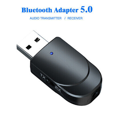 Audio Transmitter Receiver Adapter 3 In 1 USB Bluetooth 5.0 For TV PC Car AUX-UK • 5.45£
