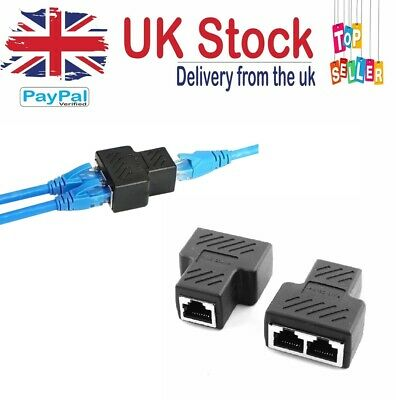 Rj45 2 Port Splitter Coupler Lan Network Ethernet Cable Connector Plug • 3.21£