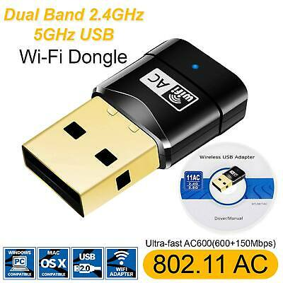 USB WiFi Adapter Network LAN Dongle 600Mbps Dual Band 802.11ac 2.4GHz 5GHz PC UK • 7.99£