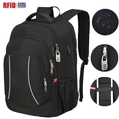 Laptop Backpack Waterproof USB Mens Women Rucksack Travel School Shoulder Bag UK • 15.99£