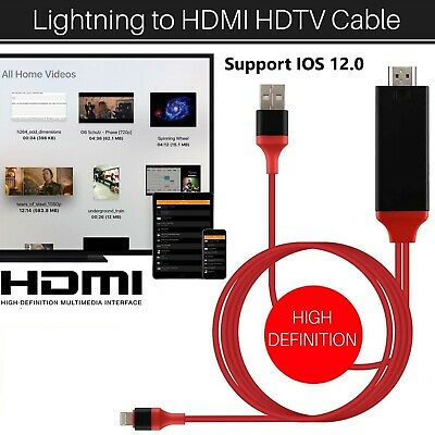 Lightning 8 Pin To HDMI Digital TV AV Adapter Cable For IPad IPhone 5 6 7 8 X XS • 8.39£