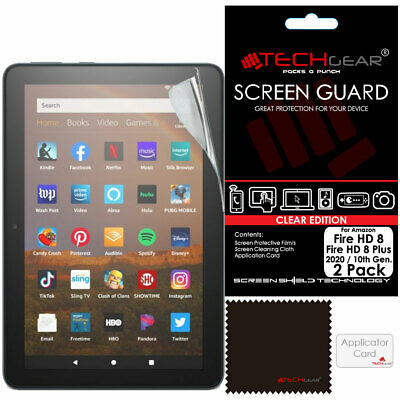 2x TECHGEAR Screen Protector Covers For Amazon Fire HD 8 , HD 8 Plus 2020 / 10th • 2.95£