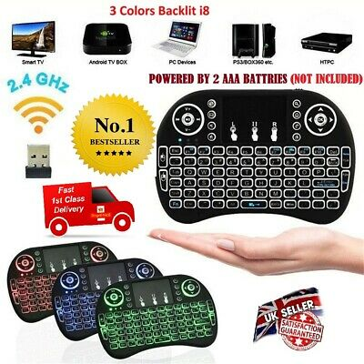 I8 Wireless Mini Keyboard Touchpad For Smart TV Android Box PC GAMES 3 Backlight • 7.99£