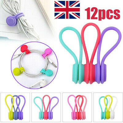Magnetic Earphone Cable Organiser Headphone Tidy Cord Multifuntion Winder 12pcs • 5.99£