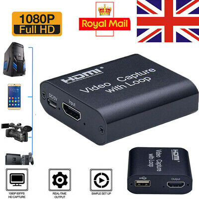 HD 1080P 60fps HDMI Video Capture Card USB 2.0 Mic Game Record Live Streaming UK • 13.49£