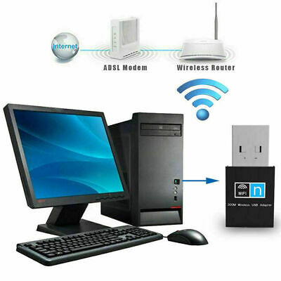 300Mbps USB WiFi Dongle 802.11 B/G/N Wireless Network Adapter For Laptop PC UK • 3.79£
