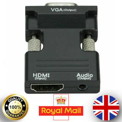 1080P HDMI Female To VGA Male With Audio Output Cable Converter Adapter Lead UK • 5.63£