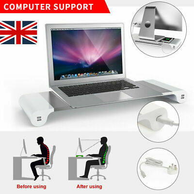 Monitor Stand  PC Laptop Computer USB Charger Screen Riser Desk Storage Silver • 15.59£