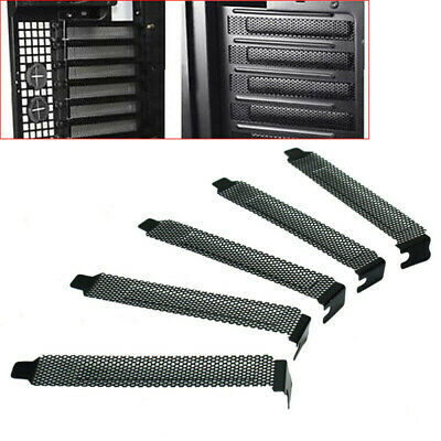 10Pcs Hard Steel Black Dust Filter Blanking Plate PCI Slot Cover With Screws • 3.99£