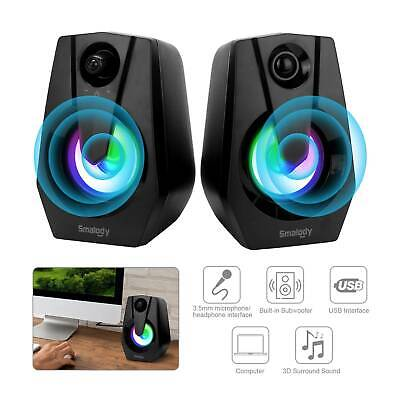 LED Speakers PC Surround Sound System Gaming Deep Bass USB LED Desktop Computer • 12.99£