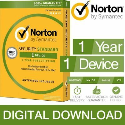 Norton Internet Security 2020 Antivirus 1 Year 1 PC/iOS/Android DOWNLOAD • 8.05£