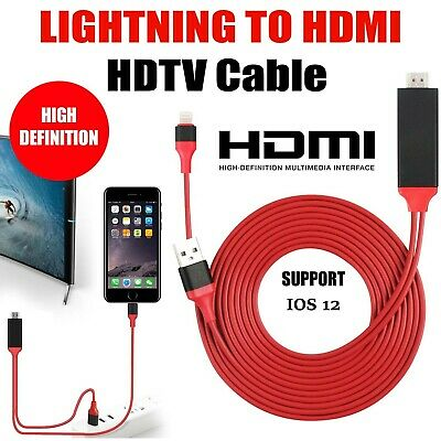 Lightning To HDMI Digital TV AV Adapter Cable For Apple IPad IPhone 5 6 7 8 X XS • 6.95£