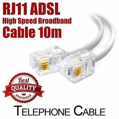 10m ADSL / DSL Broadband Modem Internet Phone Router Cable Lead , RJ11 To RJ11 • 2.75£