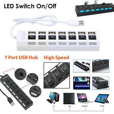 Hi-Speed 2.0 USB Splitter Box 7-Port HUB ON/OFF Switch LED For Multiple Devices • 9.94£
