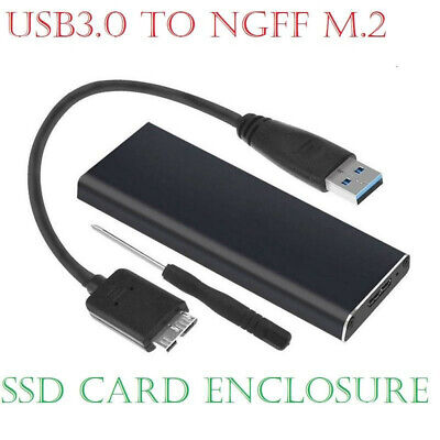 M.2 NGFF SSD SATA TO USB 3.0 External Enclosure Aluminium Storage Case Adapter • 9.38£