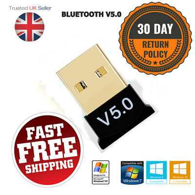 Mini USB Wireless Bluetooth Adapter Dongle V5.0 CSR For Windows 7/8/10 PC Laptop • 3.20£