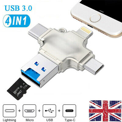 USB 3.0 Micro TF Card Type-C Reader Adapter Flash Drive OTG For IPhone Android • 19.98£