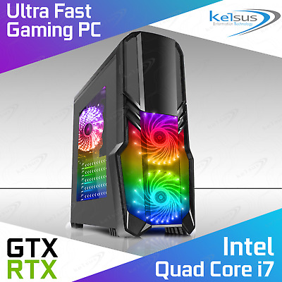 ULTRA FAST Quad Core Gaming PC I7 16GB RAM 2TB RTX 2060 Windows 10 Computer • 617£