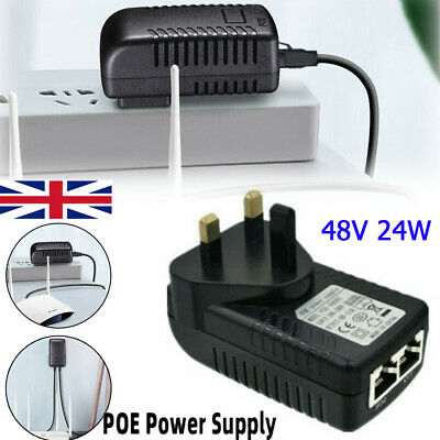 48V POE Power Supply 24W PoE Injector Adapter Power Over Ethernet UK Wall Plug • 5.29£