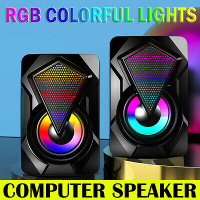 Surround Sound System LED PC Speakers Gaming Bass USB Wired For Desktop Computer • 12.99£
