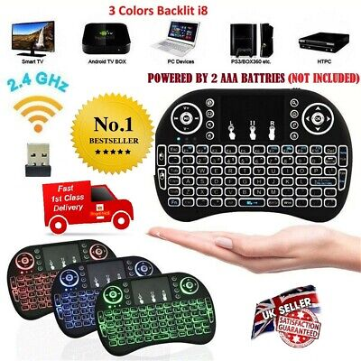 I8 Wireless Mini Keyboard Touchpad For Smart TV Android Box PC GAMES 3 Backlight • 6.99£