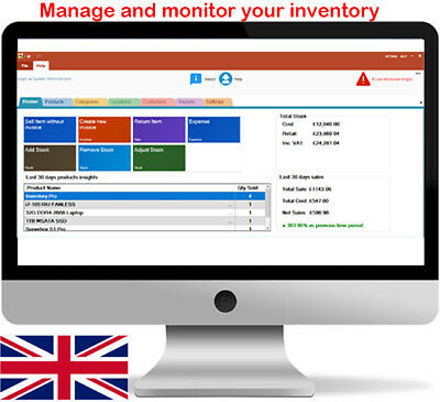 Inventory/Stock Management  PC Software - Stock, Invoice, Barcode, UK • 12.99£