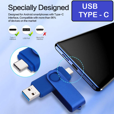 USB TYPE C OTG Memory Stick Flash Pen Drive Photostick Android/PC/Mac 2-in-1 • 8.49£
