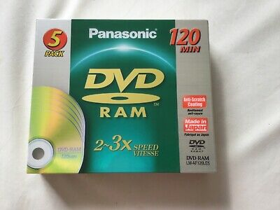 New And Sealed Panasonic DVD - RAM LM-AF120LE5  5 Pack • 12.50£