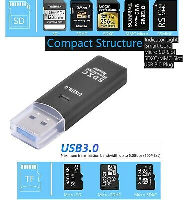 Memory Card Reader Multi USB 3.0 High Speed Adapter Flash Micro SD SDXC TF UK  • 3.49£