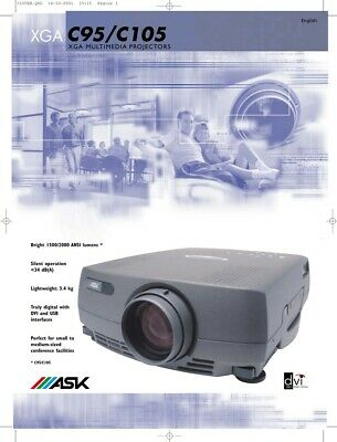 ASK C95 Projector  XGA Conference Room Projector With All Accessories And Wires • 49.99£
