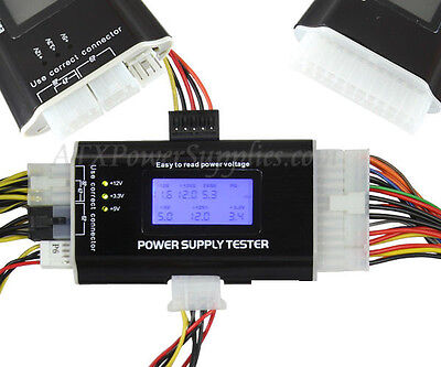 LCD PC Power Supply Tester 20/24 Pin 4 SATA HDD Testers • 11.25£