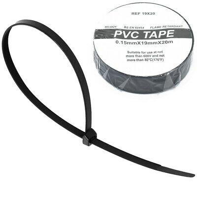 100 BLACK CABLE TIES 4.8mm X 300mm + FREE BLACK ELECTRICAL PVC TAPE 19mm X 20m • 3.89£