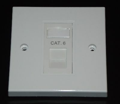 Cat6 RJ45 Single Face Plate (Network Ethernet Data Wall Socket / FacePlate) • 2.80£