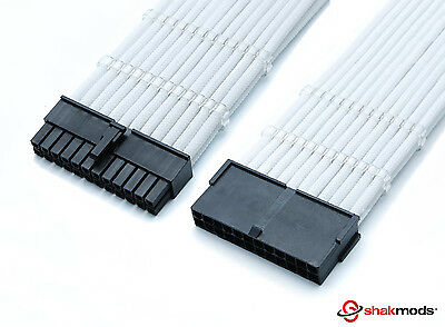 Shakmods 24pin ATX Motherboard 30cm White Sleeved Extension + 2 Cable Combs • 11.99£