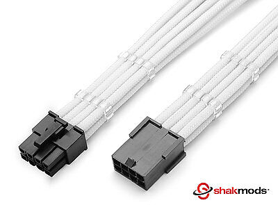 8 Pin Pcie White GPU  PSU Sleeved Power Supply Extension Shakmods + 2 Cable Comb • 8.99£