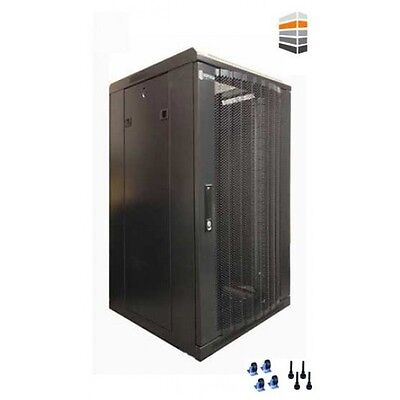 27U Server Rack 600 (W) X 800 (D) X 1400 (H) Glass Door Data Cabinet 19inch Ack • 325£