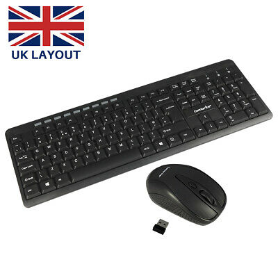 2.4GHz Wireless Keyboard And Mouse Combo Set UK Full-Size & USB Dongle PC Laptop • 14.95£