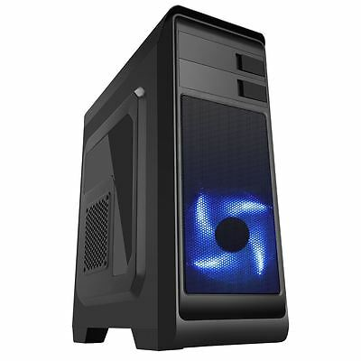 CIT Hero Black Midi ATX PC Computer Case Mid ATX 12CM Front Blue LED Fan • 25.85£