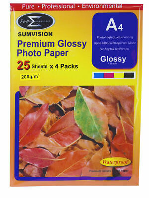 50 Sheet Sumvision Premium 200gsm A4 Inkjet Photo Paper White Glossy Surface UK • 5.95£