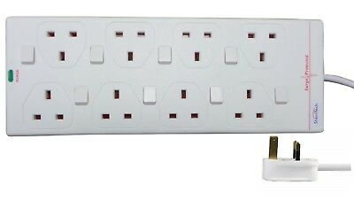 ShaniTech 2m 8 Gang Surge Protected Extension Lead Switched (UK Plug) 8 Way • 14.49£