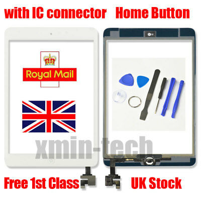 For White IPad Mini 1/2 Touch Glass Digitizer Screen Replacement +IC Home Button • 9.92£