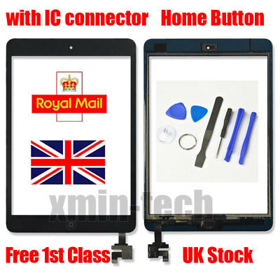 For Black IPad Mini 1/2 Touch Glass Digitizer Screen Replacement +IC Home Button • 9.92£