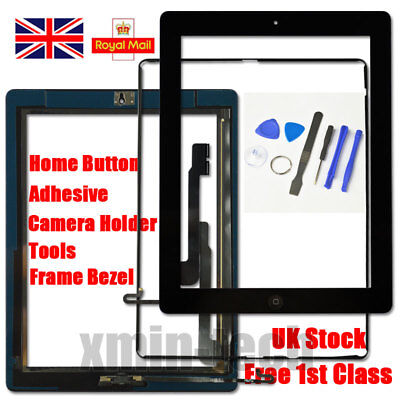 Black Screen For IPad 4 Touch Digitizer Replacement Mid Frame Bezel Home Button • 10.94£