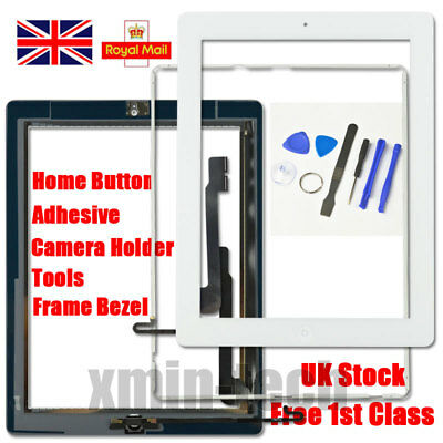White Screen For IPad 4 Touch Digitizer Replacement Mid Frame Bezel Home Button • 9.93£