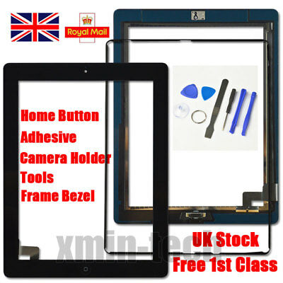 Black For IPad 2 Screen Touch Digitizer Replacement Mid Frame Bezel Home Button • 9.92£